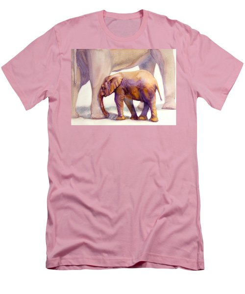 Men's T-Shirt (Slim Fit) featuring the painting Mom And Baby Boy Elephants by Bonnie Rinier