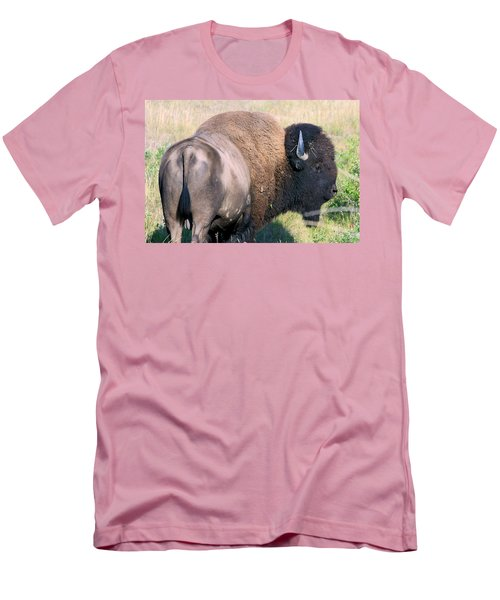 Men's T-Shirt (Slim Fit) featuring the photograph Montana Buffalo Bison Bull by Karon Melillo DeVega