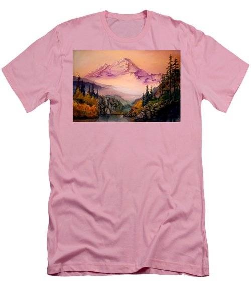 Men's T-Shirt (Slim Fit) featuring the painting Mount Baker Morning by Sherry Shipley