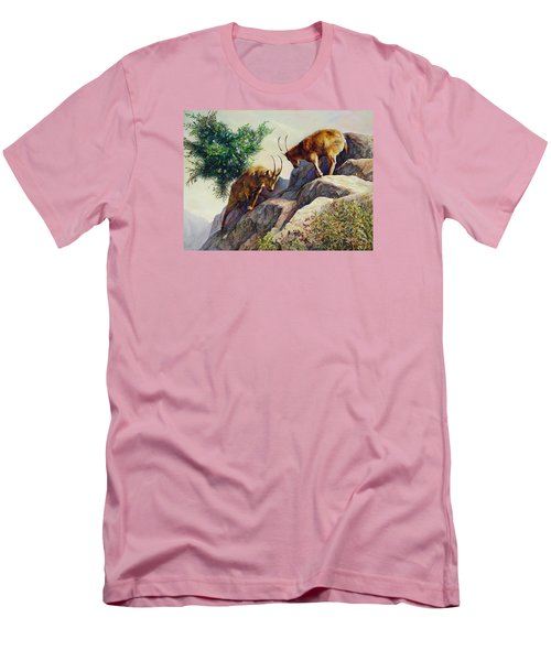 Men's T-Shirt (Slim Fit) featuring the painting Mountain Goats - Powerful Fight  by Svitozar Nenyuk