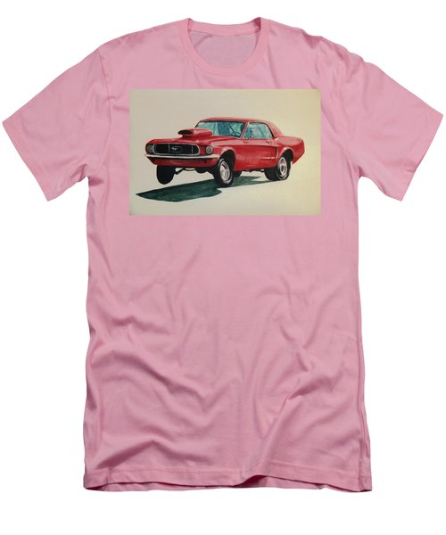 Men's T-Shirt (Slim Fit) featuring the painting Mustang Launch by Stacy C Bottoms