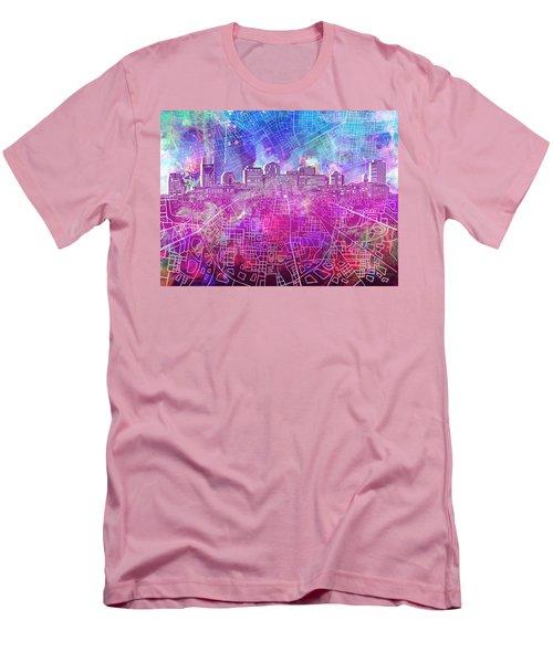 Nashville Skyline Watercolor Men's T-Shirt (Athletic Fit)