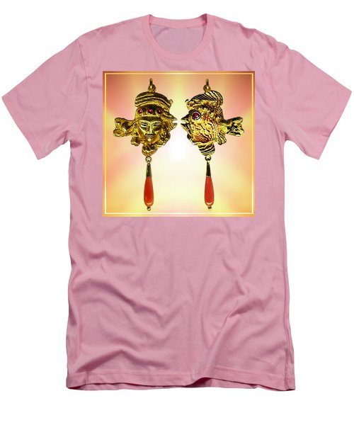 One Gold Sculpture Pendant Men's T-Shirt (Slim Fit) by Hartmut Jager