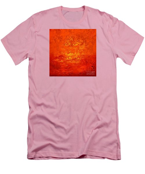 One Night In Old Shanghai By Rjfxx.-original Minimalist Abstract Art Painting Men's T-Shirt (Slim Fit) by RjFxx at beautifullart com