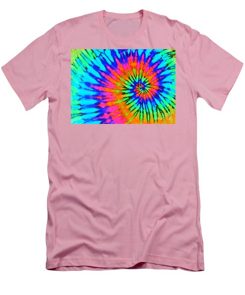 Orange Pink And Blue Tie Dye Spiral Men's T-Shirt (Slim Fit) by Catherine Sherman