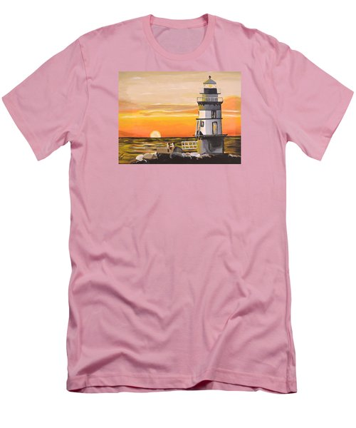 Orient Point Lighthouse Men's T-Shirt (Slim Fit) by Donna Blossom