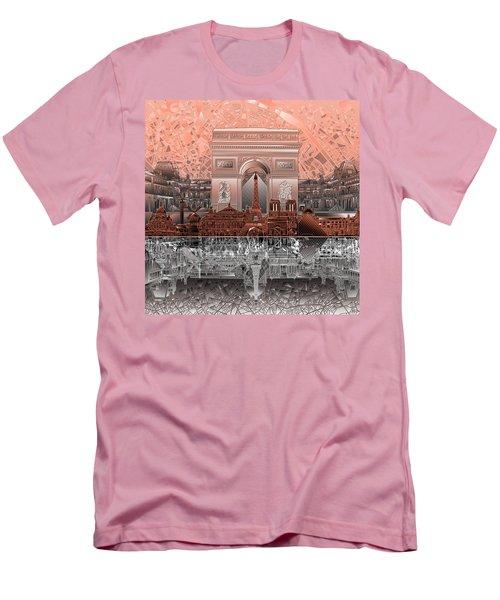 Paris Skyline Landmarks 2 Men's T-Shirt (Slim Fit)