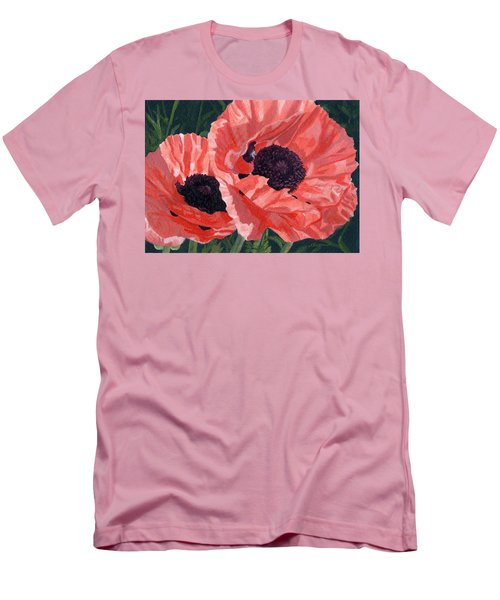 Men's T-Shirt (Slim Fit) featuring the painting Peachy Poppies by Lynne Reichhart