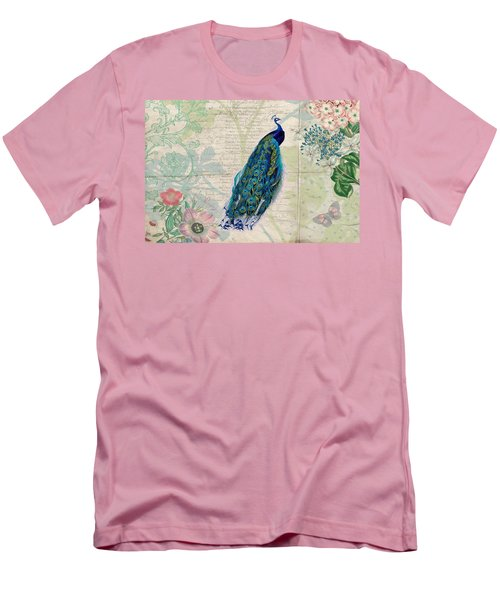 Peacock And Botanical Art Men's T-Shirt (Slim Fit) by Peggy Collins