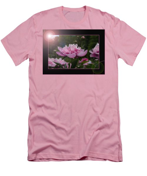 Men's T-Shirt (Slim Fit) featuring the photograph Peony Garden Sun Flare by Patti Deters