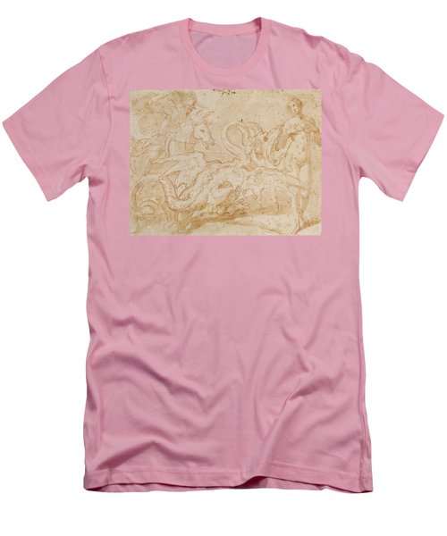 Perseus Rescuing Andromeda Red Chalk On Paper Men's T-Shirt (Athletic Fit)