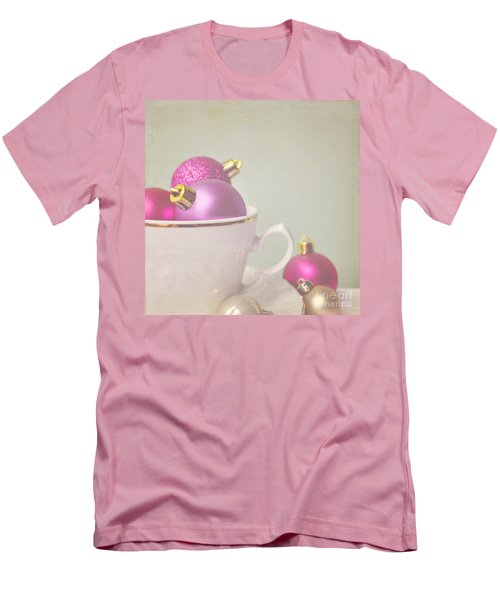 Pink And Gold Christmas Baubles In China Cup. Men's T-Shirt (Athletic Fit)