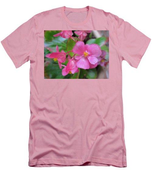 Pink Begonias Men's T-Shirt (Slim Fit) by Barbara Yearty