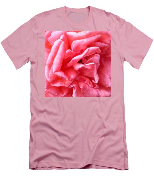 Men's T-Shirt (Slim Fit) featuring the photograph Pink Petals Up Close Rose Art Photo by Marianne Dow