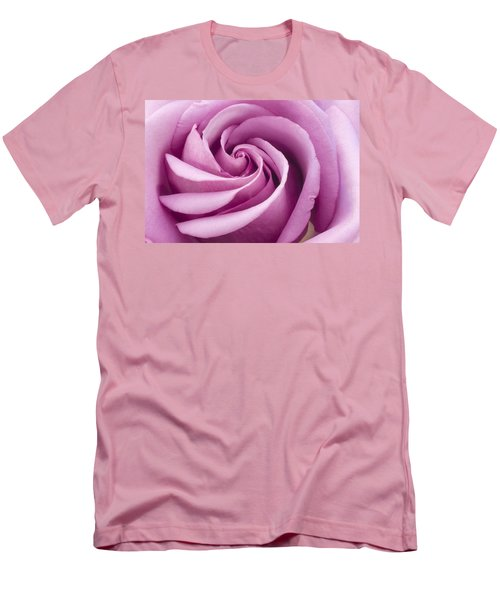 Men's T-Shirt (Slim Fit) featuring the photograph Pink Rose Folded To Perfection by Sandra Foster