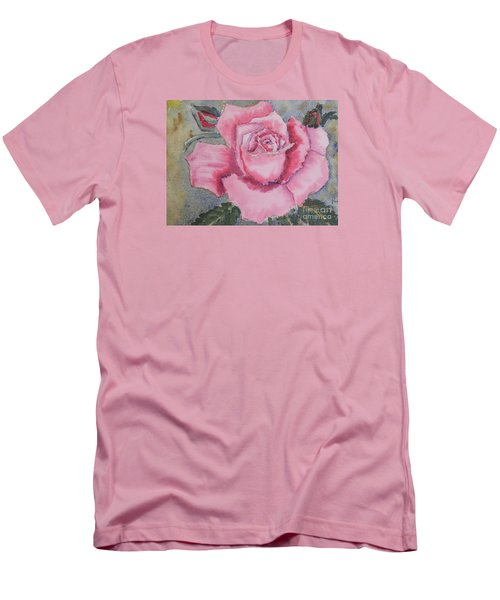 Pink Rose Men's T-Shirt (Slim Fit) by Pamela  Meredith