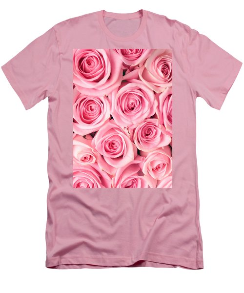 Pink Roses Men's T-Shirt (Slim Fit) by Munir Alawi