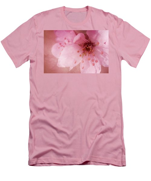 Men's T-Shirt (Slim Fit) featuring the photograph Pink Spring Blossom by Ann Lauwers