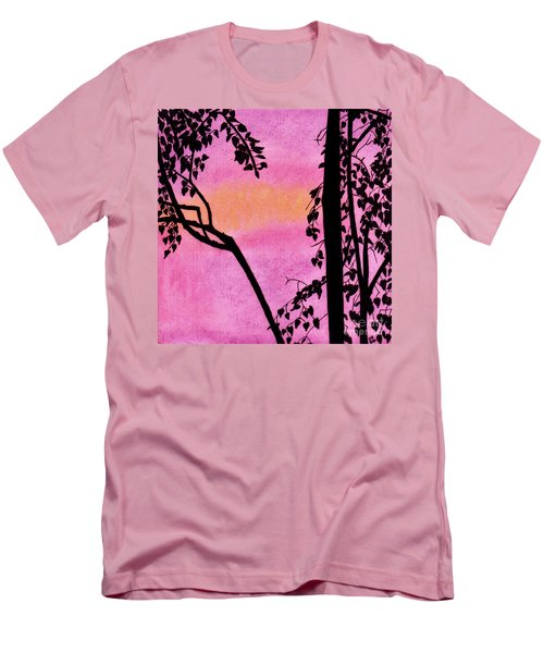 Men's T-Shirt (Slim Fit) featuring the drawing Pink Sky Sunset by D Hackett