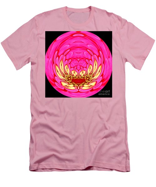 Men's T-Shirt (Slim Fit) featuring the photograph Pink Zinnia Polar Coordinate 2 by Rose Santuci-Sofranko
