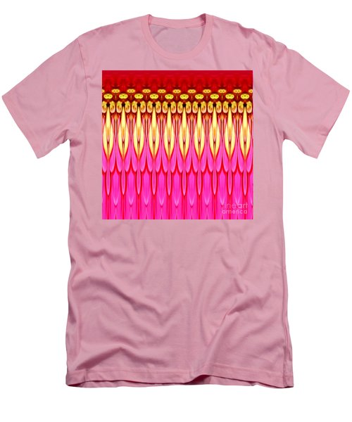 Men's T-Shirt (Slim Fit) featuring the photograph Pink Zinnia Polar Coordinate by Rose Santuci-Sofranko