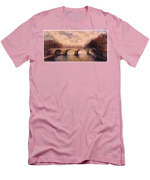 Men's T-Shirt (Slim Fit) featuring the painting Pont Sur La Seine by Walter Casaravilla