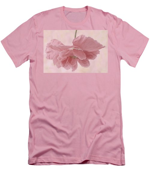 Men's T-Shirt (Slim Fit) featuring the photograph Pretty Pink Poppy Macro by Sandra Foster