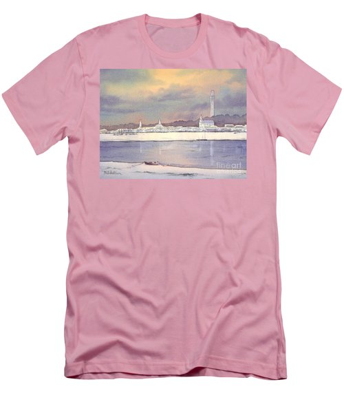 Men's T-Shirt (Athletic Fit) featuring the painting Provincetown Evening Lights by Bill Holkham