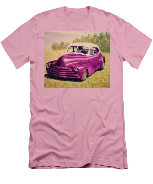 Men's T-Shirt (Slim Fit) featuring the painting Purple Chevrolet by Stacy C Bottoms