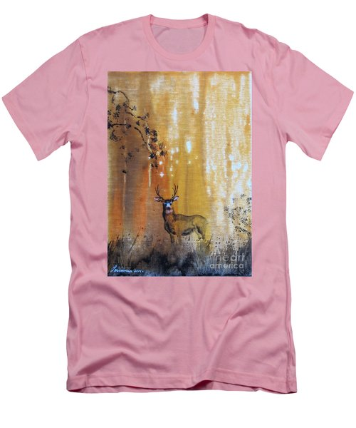Men's T-Shirt (Slim Fit) featuring the painting Quiet Time by Laurianna Taylor
