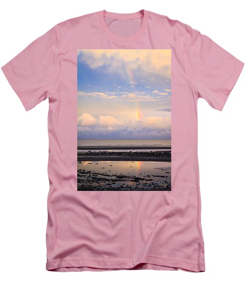 Men's T-Shirt (Slim Fit) featuring the photograph Rainbow Over Bramble Bay by Peta Thames