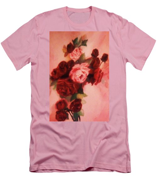 Red And Pink Roses Men's T-Shirt (Slim Fit) by Christy Saunders Church