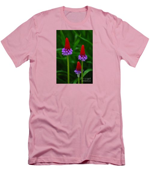 Men's T-Shirt (Slim Fit) featuring the photograph Red Hot Pokers by Cynthia Lagoudakis