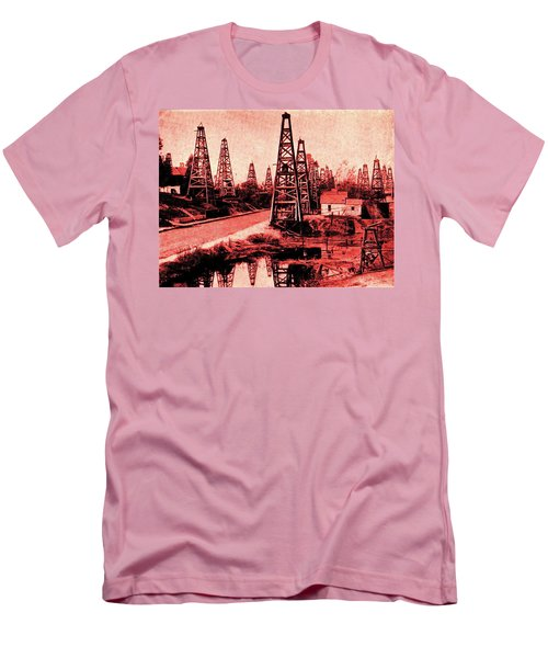 Red Indiana Oil Wells Circa 1900 Men's T-Shirt (Slim Fit) by Peter Gumaer Ogden