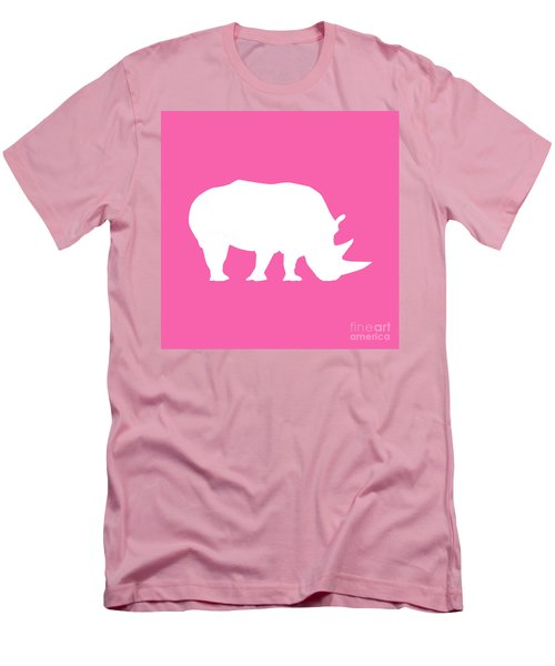 Rhino In Pink And White Men's T-Shirt (Athletic Fit)