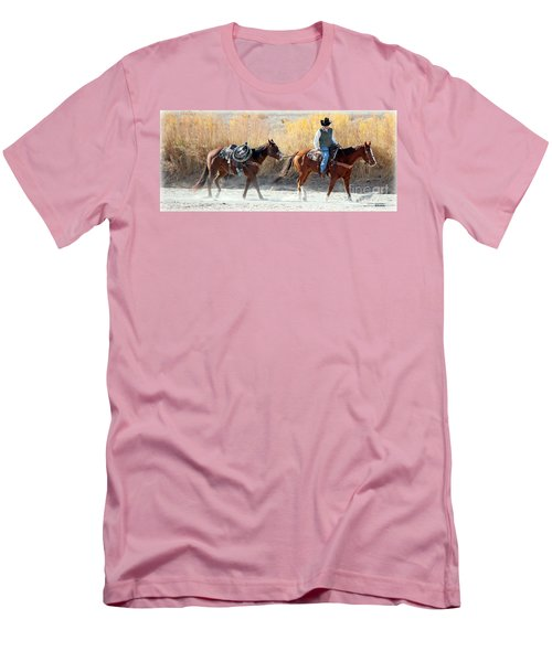 Men's T-Shirt (Slim Fit) featuring the photograph Rio Grande Cowboy by Barbara Chichester