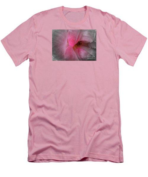 Men's T-Shirt (Slim Fit) featuring the photograph Rose Voluptuous by Jean OKeeffe Macro Abundance Art