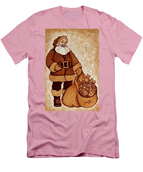 Men's T-Shirt (Athletic Fit) featuring the painting Santa Claus Bag by Georgeta  Blanaru