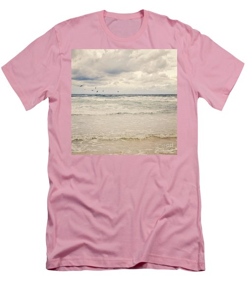 Seagulls Take Flight Over The Sea Men's T-Shirt (Athletic Fit)