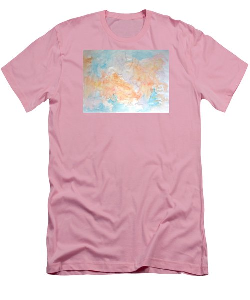 Men's T-Shirt (Slim Fit) featuring the painting Seaside In Summer by Esther Newman-Cohen