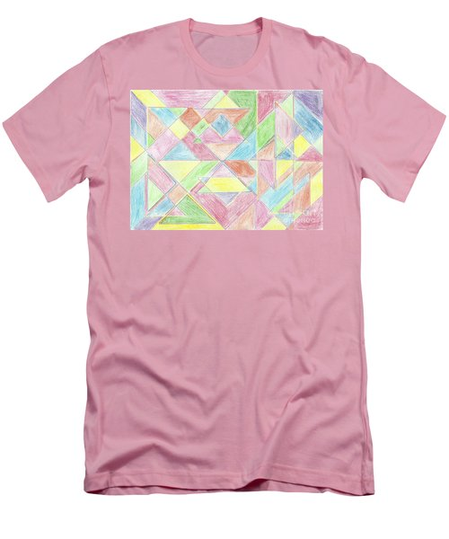 Men's T-Shirt (Slim Fit) featuring the drawing Shapes Of Colour by Tracey Williams