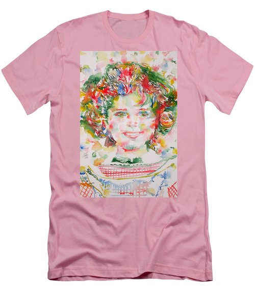 Shirley Temple - Watercolor Portrait.1 Men's T-Shirt (Slim Fit) by Fabrizio Cassetta
