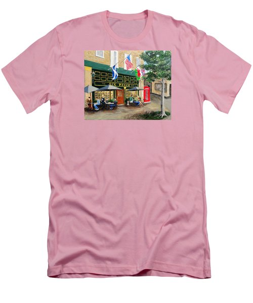 Men's T-Shirt (Slim Fit) featuring the painting Six Pence Pub by Marilyn Zalatan