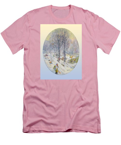 Men's T-Shirt (Slim Fit) featuring the painting Snow Day by Donna Tucker