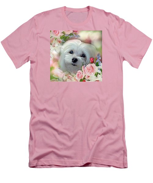 Men's T-Shirt (Slim Fit) featuring the photograph Snowdrop The Maltese by Morag Bates
