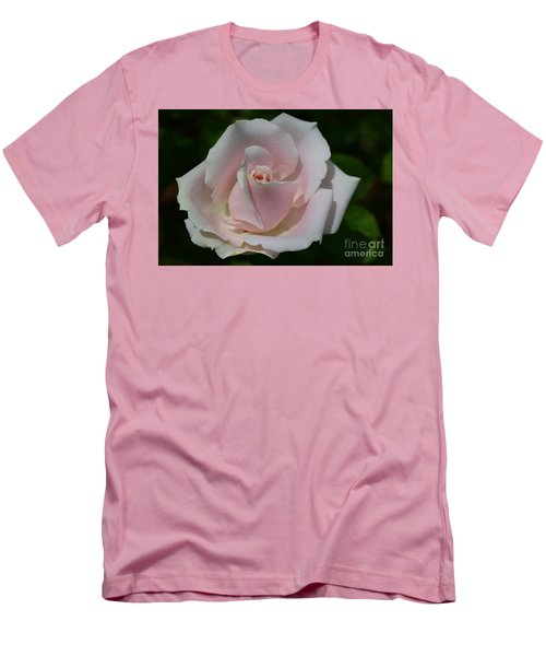Men's T-Shirt (Slim Fit) featuring the photograph Soft Pink Rose by Jeannie Rhode