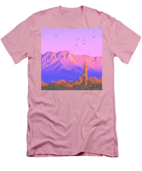 Men's T-Shirt (Slim Fit) featuring the painting Solitary Silent Sentinel by Sophia Schmierer