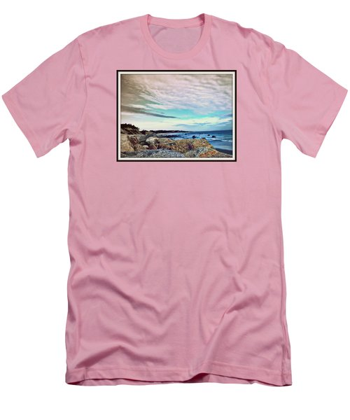 Squibby Cliffs And Mackerel Sky Men's T-Shirt (Slim Fit) by Kathy Barney