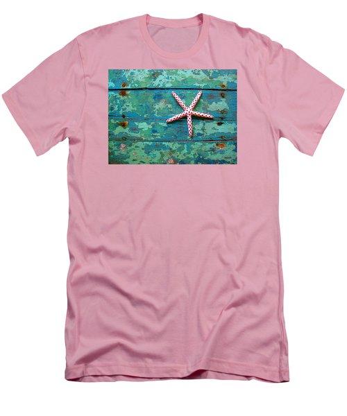 Seashore Peeling Paint - Starfish And Turquoise Men's T-Shirt (Slim Fit) by Rebecca Korpita