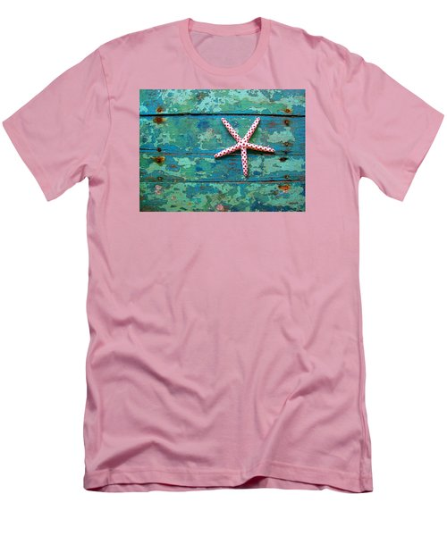 Seashore Peeling Paint - Starfish And Turquoise Men's T-Shirt (Athletic Fit)
